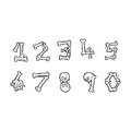 Cartoon bone numbers hand drawn illustration in retro style vector available Stock Photo