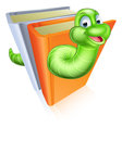 Cartoon bookworm concept a of a book worm character eating through some books Royalty Free Stock Photos