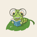 Cartoon bookworm eps this illustration contains transparency Royalty Free Stock Photos