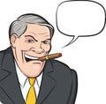 Cartoon boss smoking cigar with speech bubble
