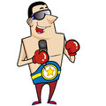 Cartoon boxer boxing gloves vector illustration Stock Image