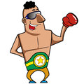 Cartoon boxer boxing gloves vector illustration Stock Photos
