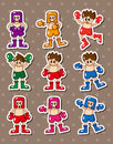 Cartoon boxer stickers Stock Image