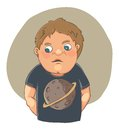 Cartoon boy ashamed in cute t-shirt Stock Image