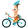 Cartoon boy with backpack and helmet riding turquoise bike smili funny happy big smile hat having a ride his blue bicycle Royalty Free Stock Images