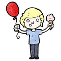 Cartoon boy with balloon and ice cream Royalty Free Stock Photo