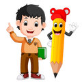 Cartoon boy with a big pencil Royalty Free Stock Photo