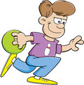 Cartoon boy bowling illustration of a throwing a ball Stock Photo