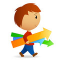 Cartoon boy carry few arrows Royalty Free Stock Photo