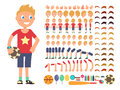 Cartoon boy character. Vector creation constructor with different emotions and body parts Royalty Free Stock Photo