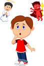 Cartoon boy confuse on choice between good and evil illustration of Stock Images