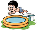 Cartoon boy diving in pool vector illustration of Royalty Free Stock Image