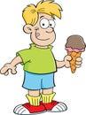 Cartoon boy eating an ice cream cone Royalty Free Stock Photo