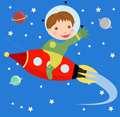 Cartoon boy fly riding red fast rocket. Stock Images