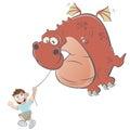 Cartoon boy is flying a dragon kite