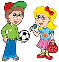Cartoon boy and girl Royalty Free Stock Photo