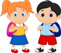 Cartoon boy and girl with backpacks illustration of Royalty Free Stock Photography