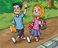 Cartoon boy and girl going to school Stock Photo
