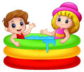 Cartoon boy and girl playing in an inflatable pool Royalty Free Stock Photo