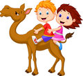 Cartoon boy and girl riding camel illustration of Royalty Free Stock Image