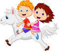 Cartoon boy and girl riding a pony horse illustration of Stock Photos