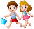 Cartoon boy and girl running Royalty Free Stock Photo