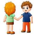 Cartoon boy and girl shaking hands