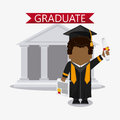 Cartoon boy graduate icon