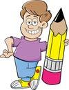 Cartoon boy holding a pencil Royalty Free Stock Photo