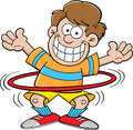 Cartoon boy with a hula hoop Royalty Free Stock Image
