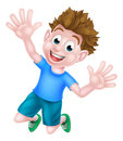 Cartoon boy jumping a happy child for joy Stock Images