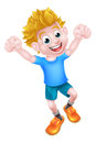 Cartoon boy jumping for joy with two fists in the air Stock Images