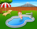 Cartoon boy jumping in swimming pool