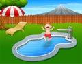 Cartoon boy jumping in swimming pool