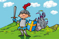 Cartoon boy knight in front of a castle Royalty Free Stock Photography