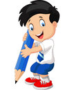 Cartoon boy with pencil Royalty Free Stock Photo