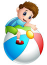Cartoon boy playing colored ball toys