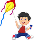 Cartoon boy playing kite illustration of Stock Photo