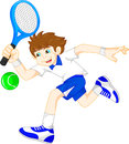 Cartoon boy playing tennis vector illustration of Royalty Free Stock Images