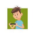 Cartoon boy playing video game with smartphone green square Royalty Free Stock Photo