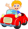 Cartoon boy in the red car illustration of Royalty Free Stock Images