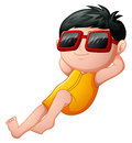 Cartoon boy relaxing wearing sunglasses