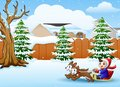 Cartoon boy riding sled on the snowing village pulled by two dogs Royalty Free Stock Photo