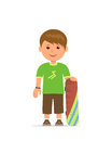 Cartoon boy with a skateboard. The young man is training to skateboarding. Vector flat design illustration.