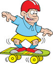 Cartoon boy skateboarding Stock Photo