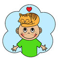 Cartoon boy and sleeping orange cat Royalty Free Stock Photo