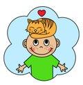 Cartoon boy and sleeping orange cat Royalty Free Stock Photo