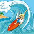 Cartoon boy surfing Royalty Free Stock Photo