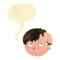 cartoon boy with ugly growth on head with speech bubble Royalty Free Stock Photo