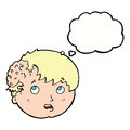 cartoon boy with ugly growth on head with thought bubble Royalty Free Stock Photo